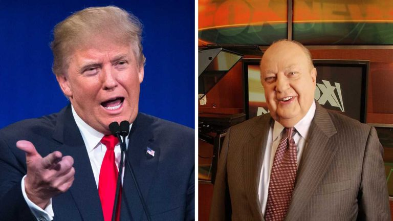 Republican presidential candidate Donald Trump and former Fox News chairman Roger Ailes. (AP Photo