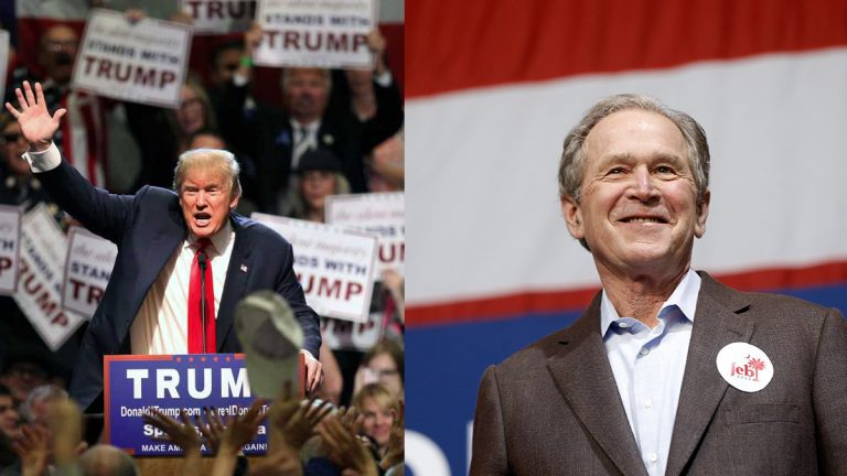 Left: Donald Trump speaks during a rally at the Nugget Convention Center in Sparks, Nev. (AP Photo/Lance Iversen) | Right: Former President George W. Bush campaigns for his brother Monday, Feb. 15, 2016, in North Charleston, S.C. (AP Photo/Matt Rourke)
