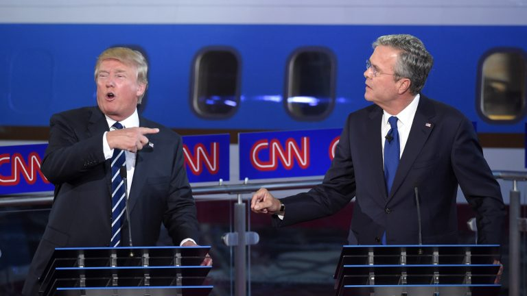 Republican presidential candidate Donald Trump, left, and former Florida Gov. Jeb Bush talk over each other during the CNN Republican presidential debate at the Ronald Reagan Presidential Library and Museum, Wednesday, Sept. 16, 2015, in Simi Valley, Calif. (AP Photo/Mark J. Terrill)