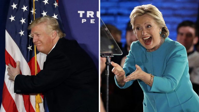 Left: Republican presidential candidate Donald Trump hugs the American flag after speaking at a rally on Monday in Virginia. (AP Photo/Alex Brandon) Right: Democratic presidential candidate Hillary Clinton gestures as she takes the stage during a campaign rally on Sunday in New Hampshire. (AP Photo/Steven Senne)
