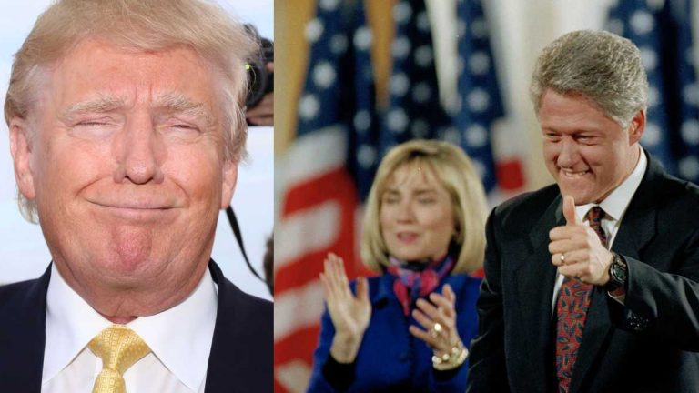 From left: Donald Trump (Greg Allen/Invision/AP) and Hillary and Bill Clinton (AP Photo/Doug Mills, file)