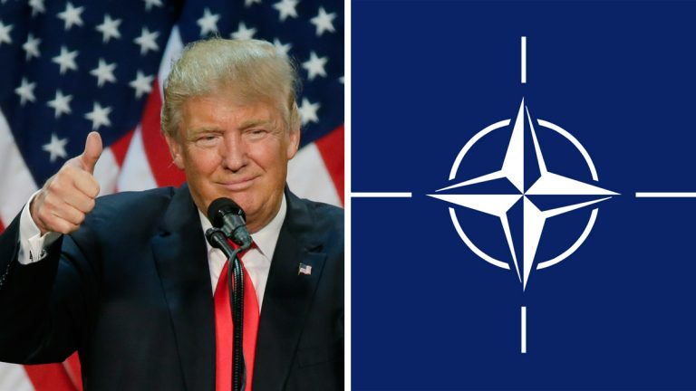 Left: Donald Trump (AP Photo); Right: NATO flag
