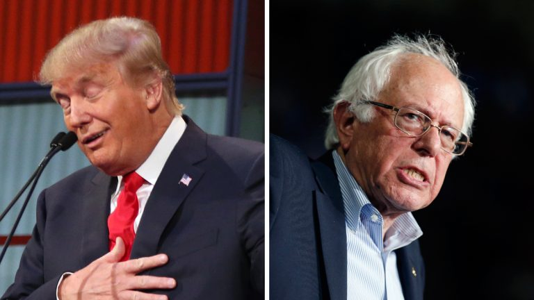 From left: Republican presidential candidate Donald Trump in August 2015; Democratic presidential candidate, Sen. Bernie Sanders, I-Vt., in October 2015. (AP Photo, file)