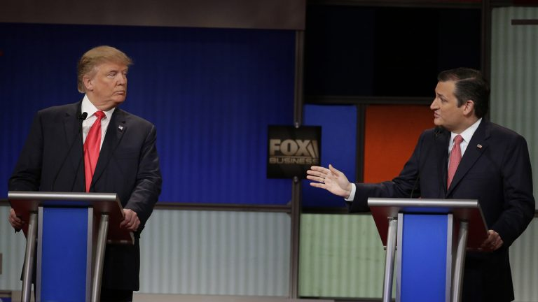 Republican presidential candidate, businessman Donald Trump and Republican presidential candidate, Sen. Ted Cruz, R-Texas, are shown in an exchange during a Republican presidential debate on Thursday, Jan. 14, 2016, in North Charleston, S.C. (AP Photo/Chuck Burton)