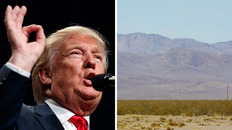 LEFT: Republican presidential candidate Donald Trump speaks during a campaign rally