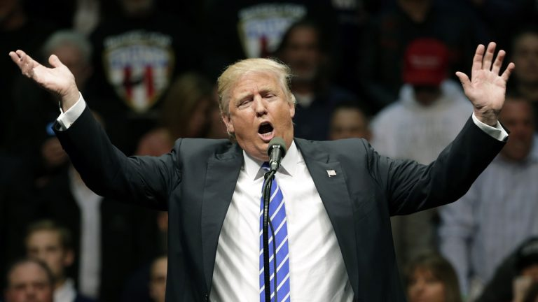 Republican presidential candidate Donald Trump speaks during a rally at the Times Union Center on Monday
