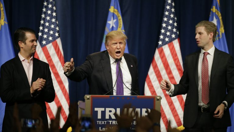 Republican presidential candidate Donald Trump speaks at a caucus rally on Tuesday night in Las Vegas