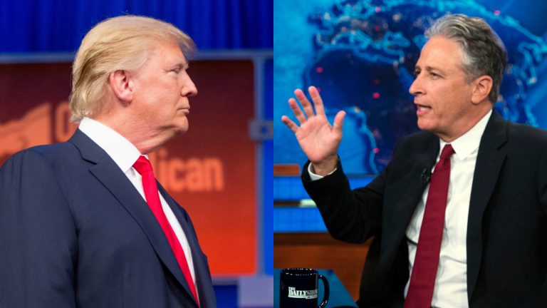 Last Thursday night, Donald Trump (left) took center stage at the Republican presidential debate and John Stewart exited stage left after a 16-year run on The Daily Show. (AP file photos)