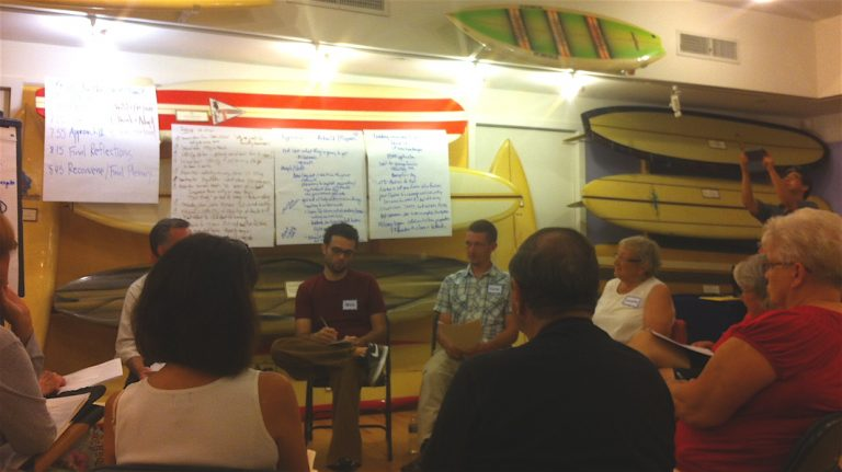 During a breakout session in the NJ Surf Museum section of the Tuckerton Seaport, full- and part-time residents talked about how to move on after Sandy and prepare for future storms. / Photo by Amy Z. Quinn