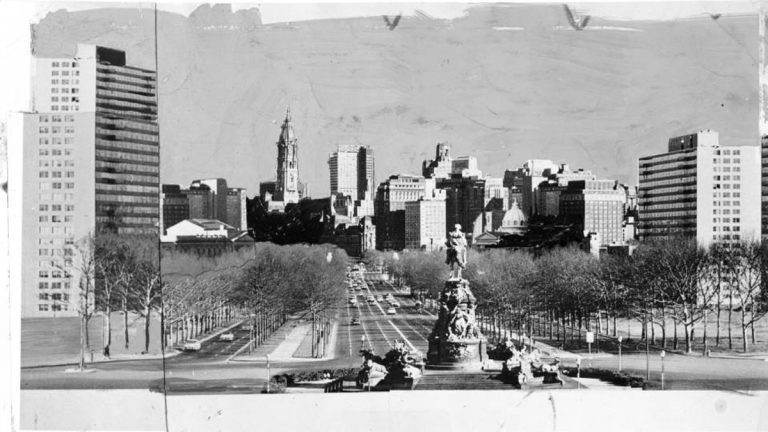 This photograph shows a view of the Philadelphia skyline framing the Benjamin Franklin Parkway from perspective of the Art Museum.(Philadelphia Evening Bulletin, 1962/Temple University Urban Archives)