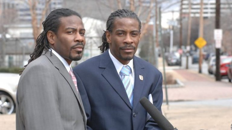 City Council rejected a committee's choice of Albert Mills (left) to replace his twin brother Nnamdi Chukwuocha on City Council. The brothers were named Delaware's poets laureate in 2015. (via Twitter/@TwinPoets)