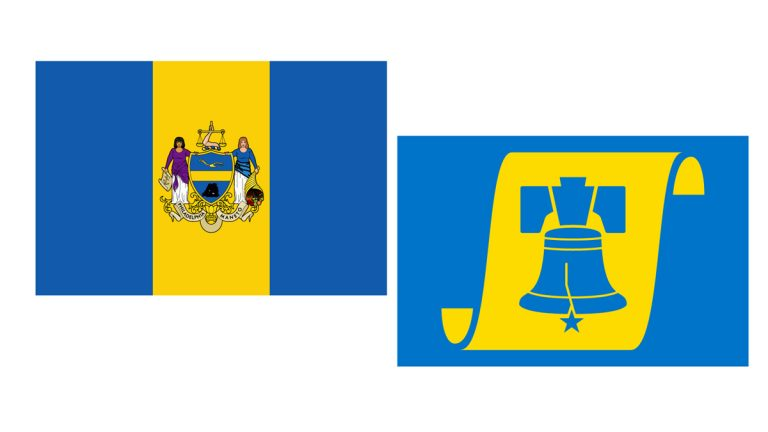 Philadelphia's current city flag, left, and a makeover proposed by local designer Edward Mitchell, right.