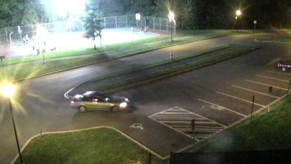 UD Police are looking for the car seen leaving the basketball court in this surveillance image.