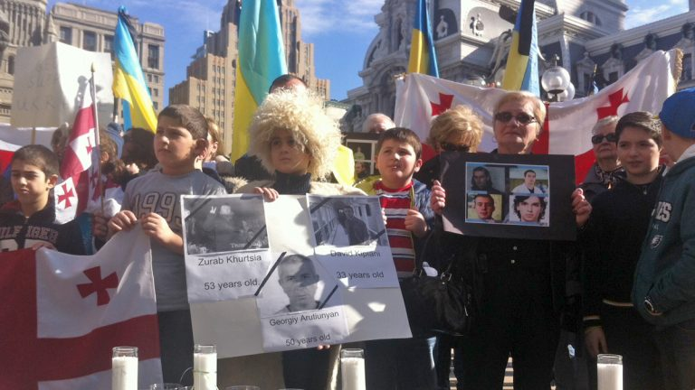 About 200 people gathered outside of City Hall in Philadelphia to honor those who died in Ukraine last week. (Sarah Whites-Koditschek/For NewsWorks)