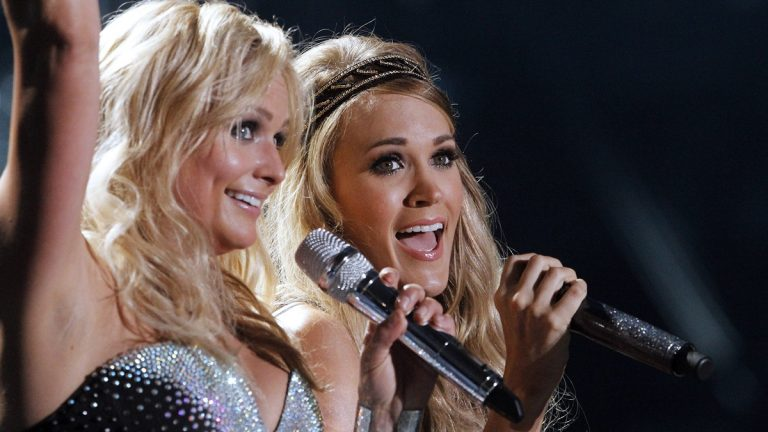 Miranda Lambert, left, and Carrie Underwood perform during the CMA Fest at LP Field on Friday, June 6, 2014, in Nashville. Both will perform at the Big Barrel Festival in Dover. (Photo by [Wade Payne/Invision/AP)