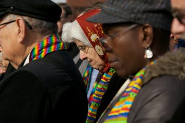 Protesters gather in front of the Eastern Pennsylania's conference of the United Methodist Church to pray, bring awareness to, and equality within the church. (Nathaniel Hamilton/for NewsWorks)