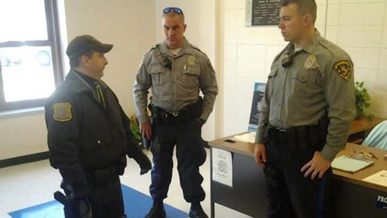 Officers at Lacey Township High School Wednesday morning. (Image: Ocean County Prosecutor's Office)