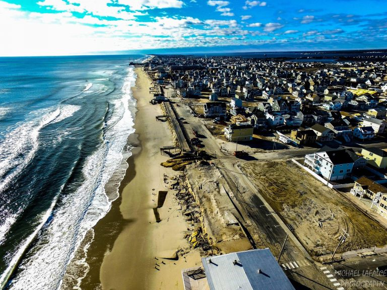Construction crews in Ortley Beach today. (Image: Michael LaFalce Photography)