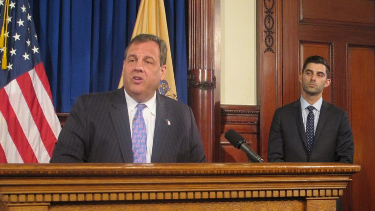 Gov. Chris Christie introduces David Weinstein as New Jersey's new chief technology office. (Phil Gregory/WHYY)