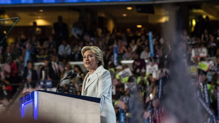 Hillary Cllinton speaks on Thursday night at the Democratic National Convention in Philadelphia. (Kimberly Paynter/WHYY)