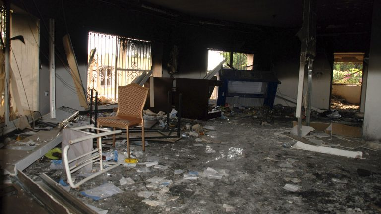 Glass, debris and overturned furniture are strewn inside a room in the gutted U.S. consulate in Benghazi, Libya, after an attack that killed four Americans, including Ambassador Chris Stevens, Wednesday, Sept. 12, 2012. (AP Photo/Ibrahim Alaguri)