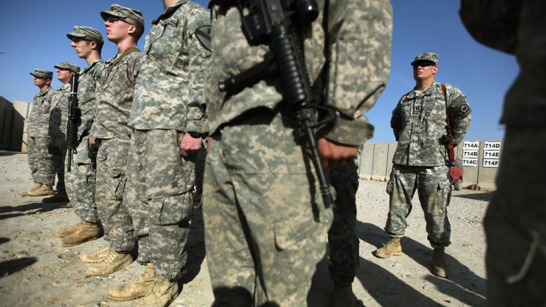U.S. soldiers from the 3rd Brigade, 1st Cavalry Division, are shown at Camp Adder, the last remaining American base, near Nasiriyah, Iraq, in 2011, shortly before American military withdrawal into Kuwait. (AP Photo/Mario Tama, Pool)