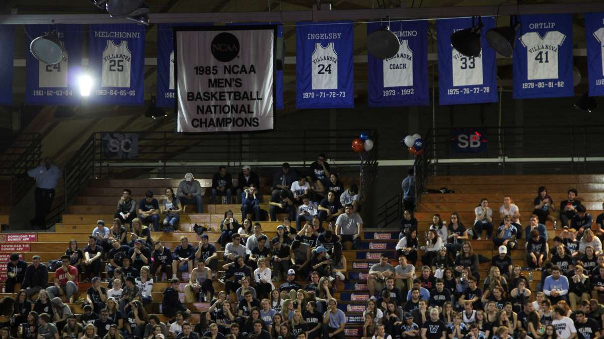 A banner hanging in the Pavilion celebrates the last time Villanova won the NCAA men's championship in 1985. (Emma Lee/WHYY)