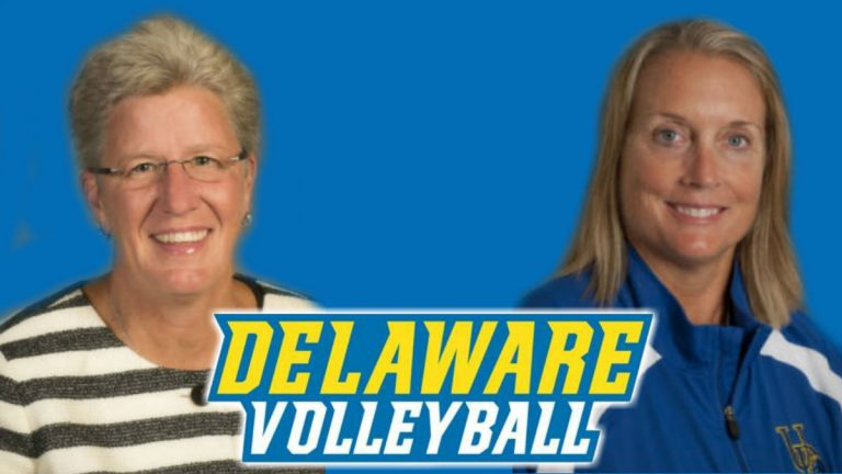 Bonnie Kenney (left) and Cindy Gregory have been placed on leave from their coaching positions with the University of Delaware volleyball team. (photo courtesy University of Delaware)