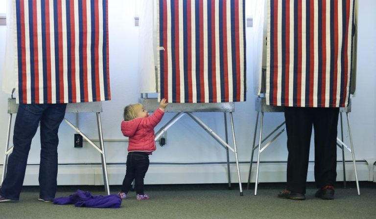 a toddler at a voting booth