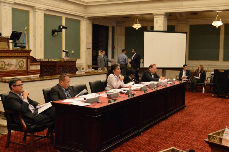 Philadelphia Council members get briefing on projected vote recount costs. (Tom MacDonald / WHYY)