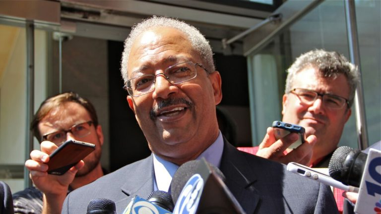 U.S Rep. Chaka Fattah leaves federal court in Philadelphia Tuesday after pleading innocent to corruption charges. (Emma Lee/NewsWorks)