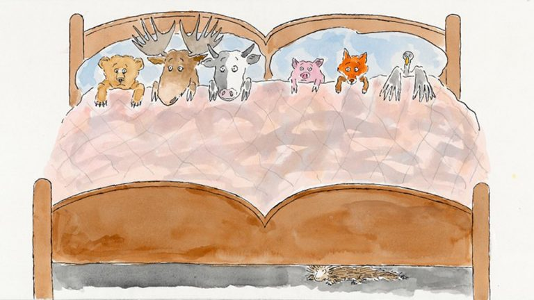 The first major exhibition to explore the life and career of children's book writer, illustrator, and Philadelphia native Bernard Waber opens at the National Museum of American Jewish History. Pictured: Animals in Bed, U.S. Illustration, 1997 by Bernard Waber. Photo courtesy of the National Museum of American Jewish History.