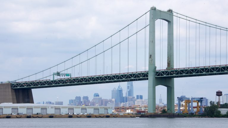 Construction on the Walt Whitman Bridge is almost finished. (Nathaniel Hamilton/for NewsWorks)