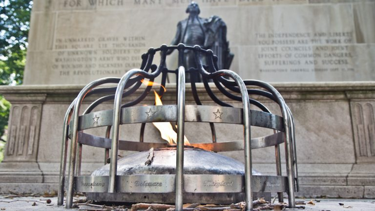'Freedom is a light for which many have died in darkness.' A monument dedicated to the warriors of the American Revolution stands in Washington Square in Philadelphia. (Kimberly Paynter/WHYY)