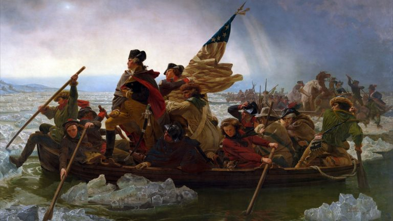 George Washington Crossing the Delaware, 1851, by Emanuel Gottlieb Leutze. The 63rd Annual Christmas Day Crossing of the Delaware River at Washington Crossing Historic Park takes place on December 25, 2015.