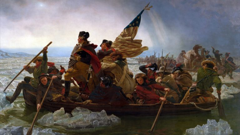 George Washington Crossing the Delaware, 1851, by Emanuel Gottlieb Leutze. The 62nd Annual Christmas Day Crossing of the Delaware River at Washington Crossing Historic Park takes place on December 25, 2014.