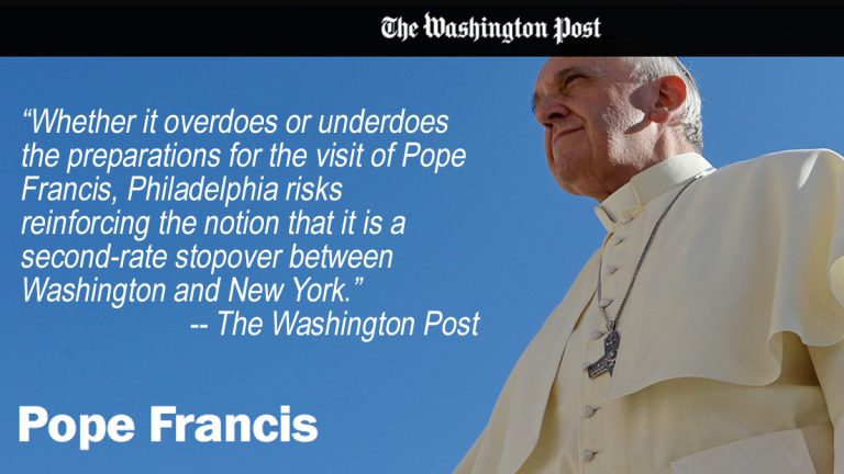 A Washington Post article is critical of Philadelphia's preparations for the papal visit.