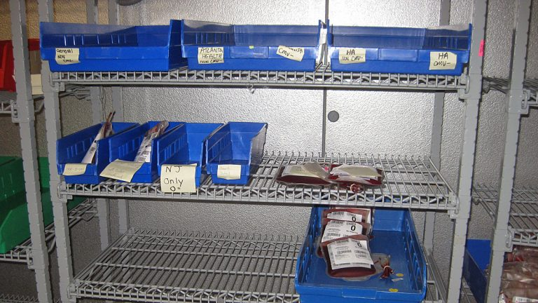 Dwindling blood supplies at Community Blood Services in Montvale (Image courtesy of Community Blood Services)