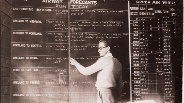 Early forecasts were geared primarily to military use and commercial aviation.  (Credit: NOAA)