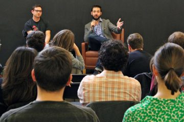 DuckDuckGo founder Gabriel Weinberg and Reddit cofounder Alexis Ohanian addressed a lunchtime audience of about 50 entrepreneurs in December at First Round Capital in University City. (Emma Lee/for NewsWorks, file)