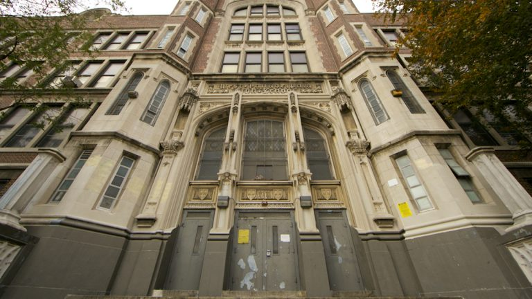 The West Philadelphia High School building is located at 4700 Walnut Street. (Nathaniel Hamilton/for NewsWorks)
