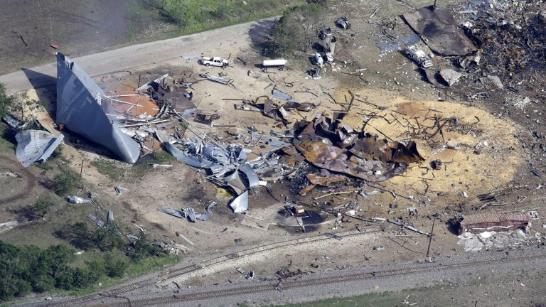 This aerial photo shows the remains of a fertilizer plant destroyed by an explosion in West