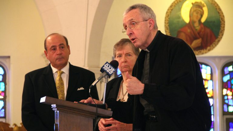 The Rev. James Connell and Sister Maureen Paul Turlish of Catholic Whistleblowers call for justice for victims of sexual abuse. The are joined by Arthur Baselice, whose son was sexually abused by two priests at Archbishop Ryan High School. (Emma Lee/WHYY)