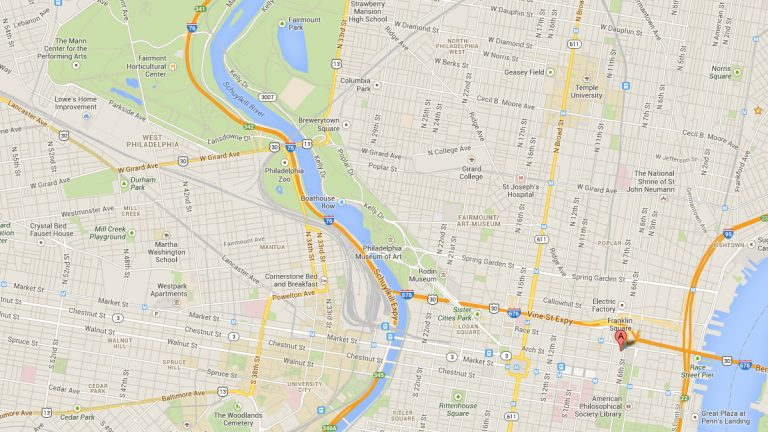 This Google Maps image shows the location of the WHYY studios in Philadelphia.