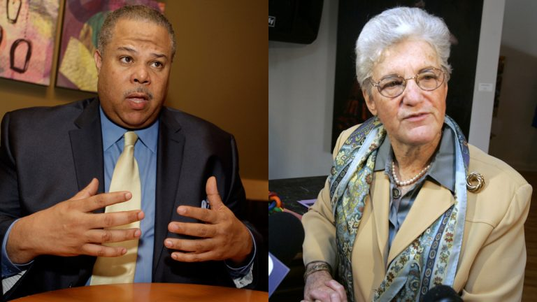 Pa. Sen. Anthony Hardy Williams, D-Philadelphia, and former Philadelphia District Attorney Lynne Abraham are expected to formally enter the mayoral race this week. (AP photos by Carolyn Kaster/AP, Jacqueline Larma/AP)