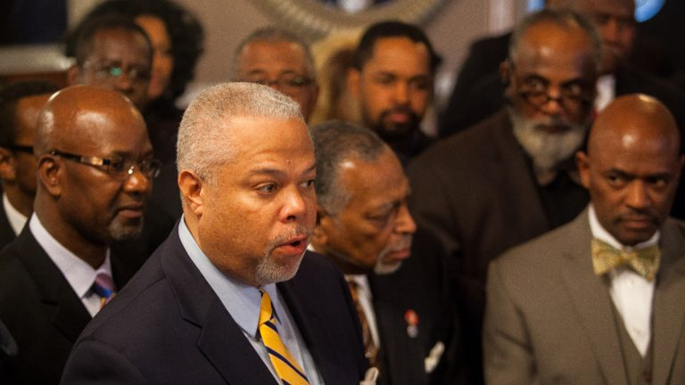Mayoral Candidate State Senator Anthony Hardy Williams speaks to members and leaders of Philadelphia Black Clergy after receiving their endorsement Thursday. (Brad Larrison/for NewsWorks)