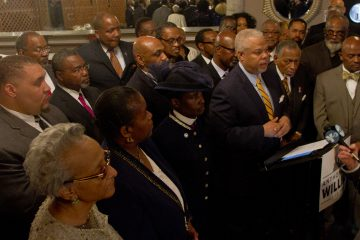 Candidate for Mayor Anthony Hardy Williams with leaders and members of Black Clergy of Philadelphia, who gave Williams their endorsement. (Brad Larrison/for NewsWorks)