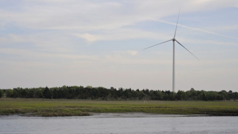 The state's lone commercially-sized wind turbine stands at UD's Lewes campus. (photo courtesy Univ. of Delaware)