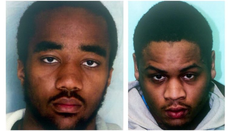 (From L) 19-year old Jermaine Booker of Wilmington, Del. and 20-year Kendall Briscoe of Newark, NJ