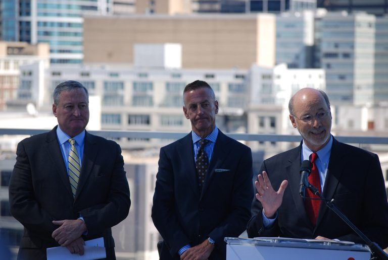 Announcing that Aramark Corp. will stay in Philadelphia are (from left)Mayor Jim Kenney